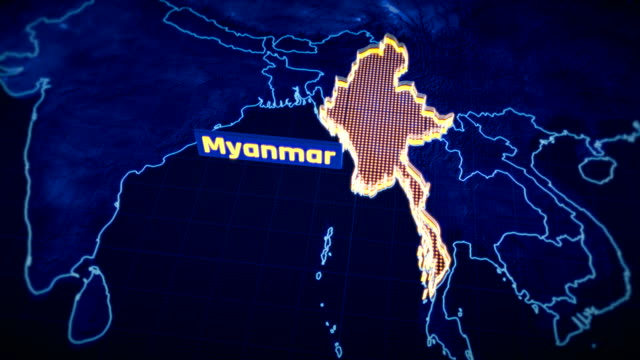 myanmar country border 3d visualization, modern map outline, travel - naypyidaw video stock e b–roll