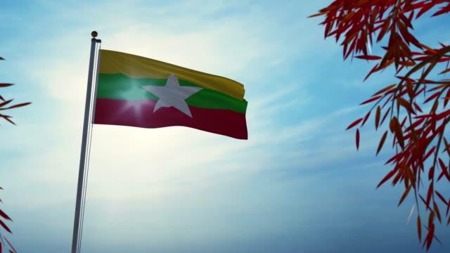 bandiera del myanmar che sventola tra gli alberi con sole - animazione 3d - naypyidaw video stock e b–roll