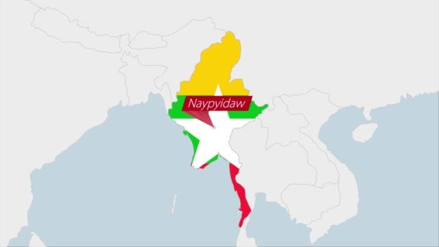 Myanmar map highlighted in Myanmar flag colors and pin of country capital Naypyitaw.
