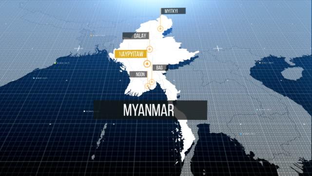 vídeos de stock e filmes b-roll de myanmar map with label then with out label - cartografia