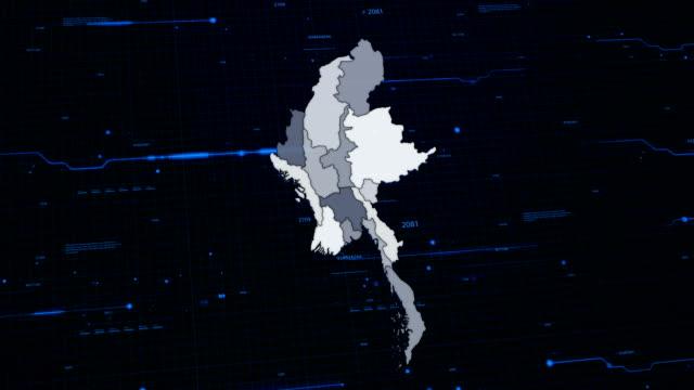 mappa di rete di myanmar - naypyidaw video stock e b–roll