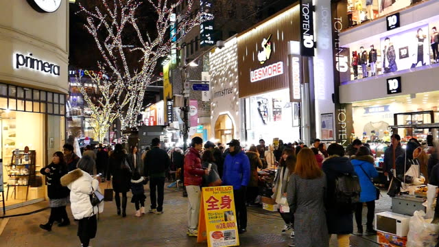myeongdong market, seoul, south korea. - coreano video stock e b–roll