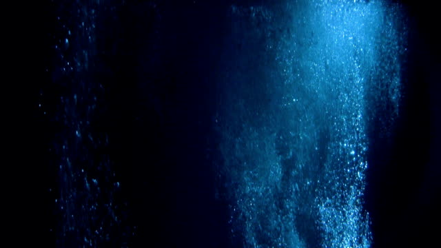 Mysterious underwater scenery with bubbles Underwater life. Sunbeam creating striped pattern, surface slowly waving deep stock videos & royalty-free footage