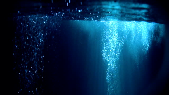 Mysterious underwater scenery with glowing bubbles