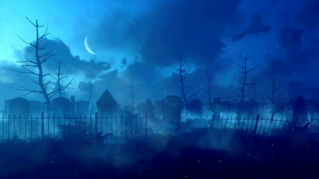 Mystic night at abandoned old spooky cemetery Fantasy cinemagraph