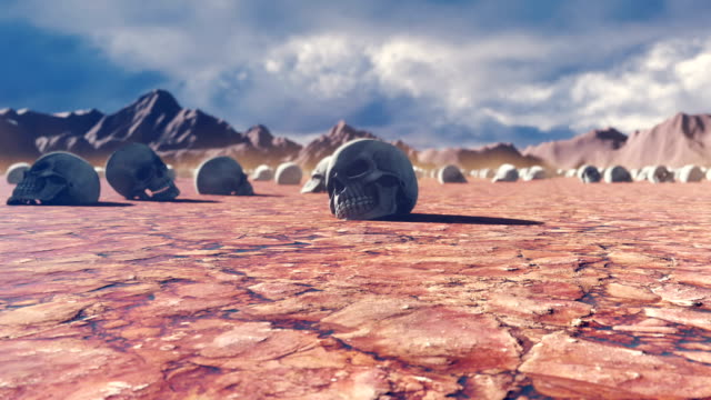 Mystical apocalyptic view, hot sultry desert and skulls on the cracked earth, disturbing sky with storm clouds and mountains in the distance.