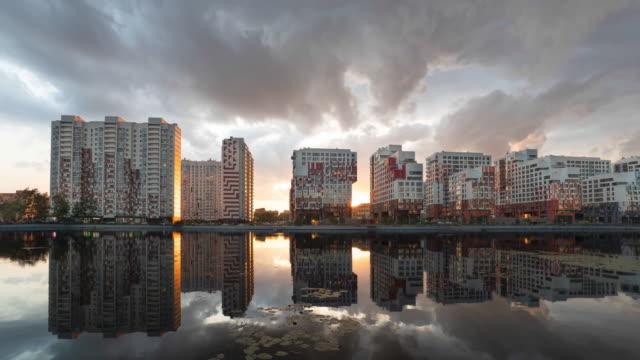 nagatinsky zaton district in moscow, russia - rzeka moskwa filmów i materiałów b-roll