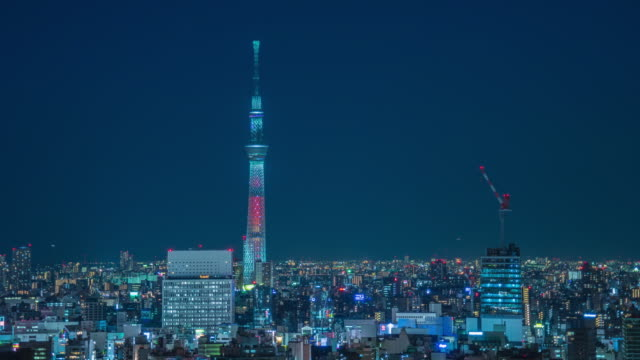 Nagoya cityscape with beautiful sky in night time. video