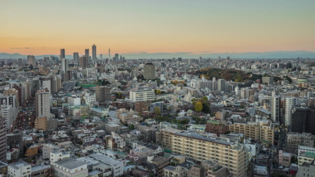 Nagoya cityscape with beautiful sky in sunset evening time, japan video
