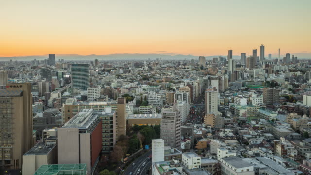 Nagoya cityscape with beautiful sky in sunset evening time. video