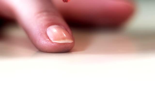 HD: Nail Polish on Long Woman Nails - pink video