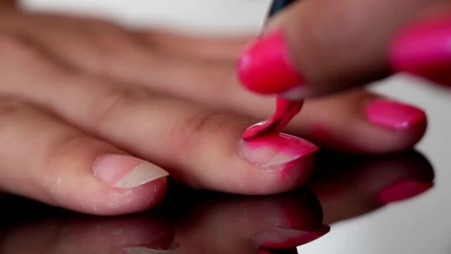 nail polish painting macro video