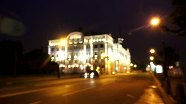 nakhimov naval school in st. petersburg. night. 4k. - barocco video stock e b–roll