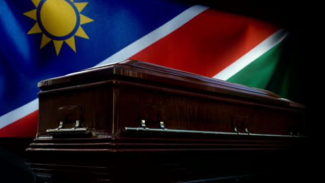 Namibian Flag Behind Coffin