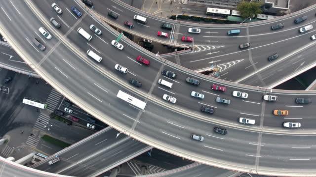 nanpu bridge aerial highway junction - estakada skrzyżowanie dróg filmów i materiałów b-roll