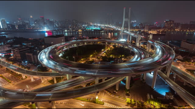T/L HA ZO NanPu Bridge and Road Intersection at Night / Shanghai, China video