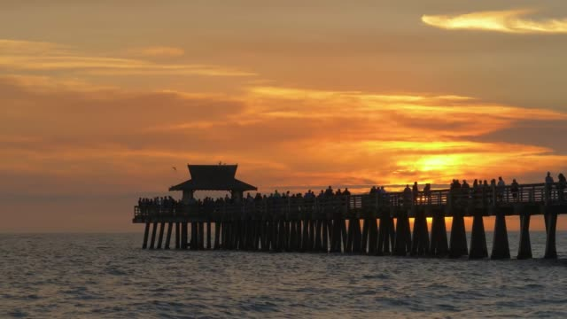 Naples Beach and Fishing Pier at Sunset
