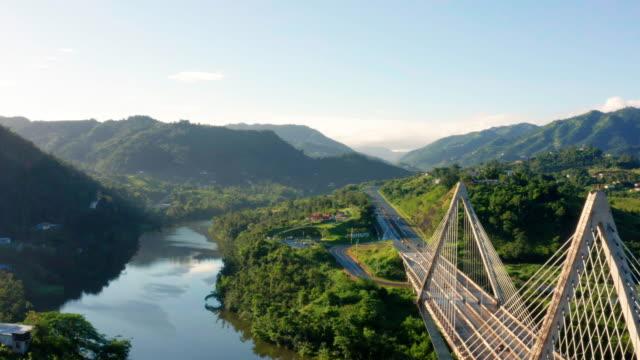 Naranjito Entrance Enter the mountain town of Naranjito aerial view puerto rico stock videos & royalty-free footage