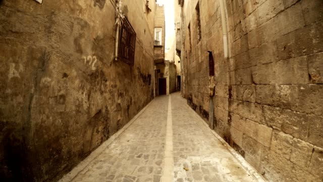 Narrow Ancient Stone Street Far Old Mosque Sanliurfa video