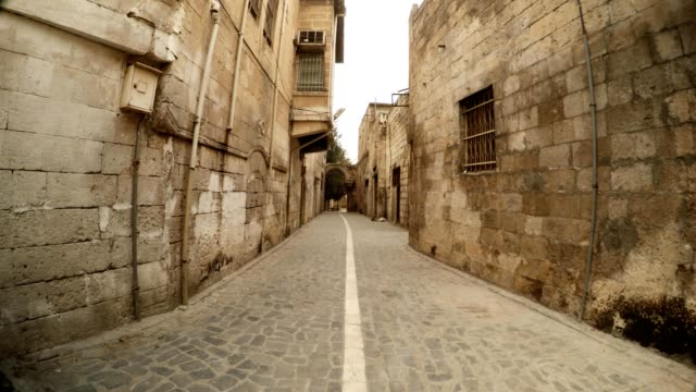 Narrow Ancient Street Paved with Stones in Urfa Antique Town of Prophets video