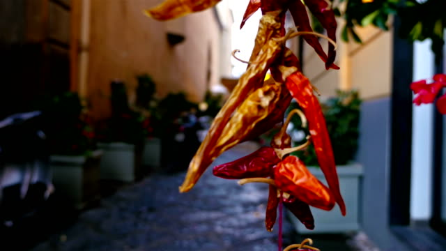 Narrow street in Sorrento, Italy, dried peppers in front to attract the tourist video
