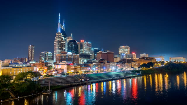 Nashville time lapse at night with skyline and river 4k 1080p video