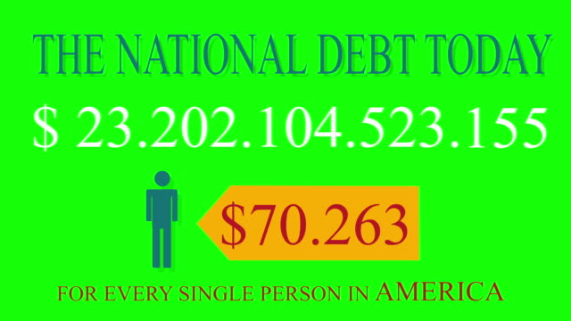 National Debt Live Clock Counter for USA on green screen