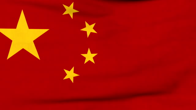 National flag of China flying on the wind - vídeo