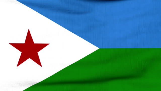 National flag of Djibouti flying on the wind National flag of Djibouti flying and waving on the wind. Sate symbol of Djiboutian nation and government. Computer generated animation. horn of africa stock videos & royalty-free footage