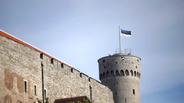 vídeos de stock e filmes b-roll de national flag of estonia on long herman - a tower of toompea castle on the hill toompea. tallinn, estonia, - estónia