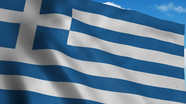 National flag of Greece flag waving in the wind, blue sky background. 4K National flag of Greece flag waving in the wind, blue sky background. 4K. coastal feature stock videos & royalty-free footage