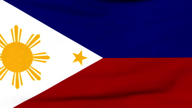 National flag of Philippines flying on the wind video