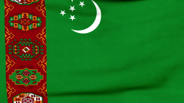 National flag of Turkmenistan flying on the wind National flag of Turkmenistan flying and waving on the wind. Sate symbol of Turkmen nation and government. Computer generated animation. turkmenistan stock videos & royalty-free footage