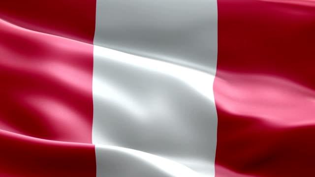 Bandera nacional Perú onda patrón elementos loopable - vídeo