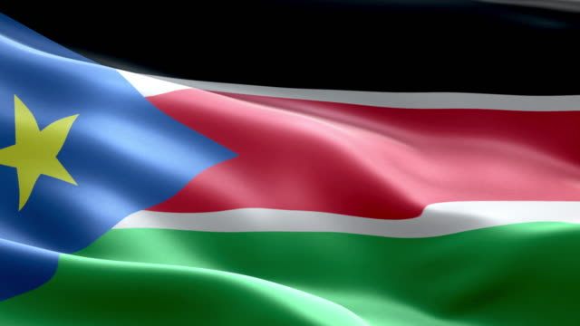 national flag south sudan wave pattern loopable elements - sudan del sud video stock e b–roll