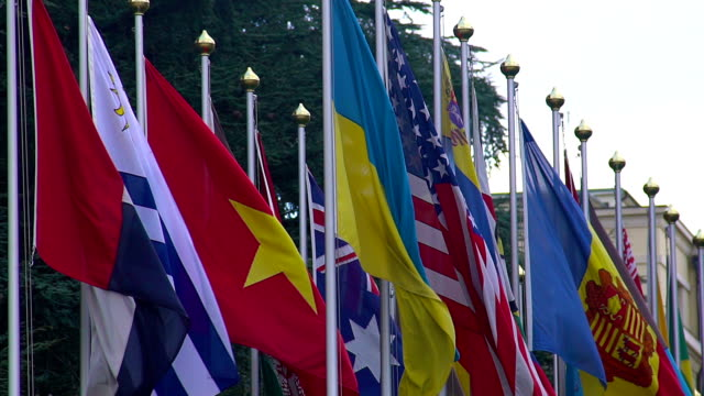 National flags of summit participants, strategic partners, diplomatic relations video