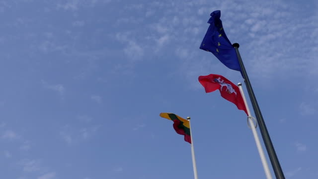 stockvideo's en b-roll-footage met nationale litouwse en de europese unie eu vlag zwaaien tegen hemel - maastricht