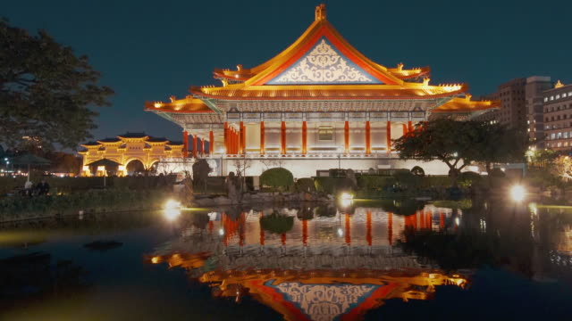 National Theater and its Reflection on the Guanghua Pond, Taipei, Taiwan National Theater and its Reflection in Taipei, Taiwan royalty stock videos & royalty-free footage