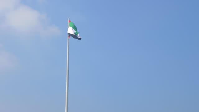 flaga narodowego zjednoczonych emiratów arabskich na tle błękitnego nieba. flaga zea macha na wietrze. falista flaga zjednoczonych emiratów arabskich w zwolnionym tempie. kopiuj miejsce. - uae flag filmów i materiałów b-roll