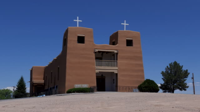 native american catholic church in nambe pueblo new mexico usa - church architecture stock videos & royalty-free footage