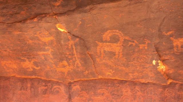 Native American petroglyph cliff Zion National Park Utah bighorn herd video