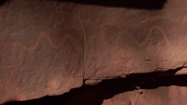Native American petroglyph cliff Zion National Park Utah snake video