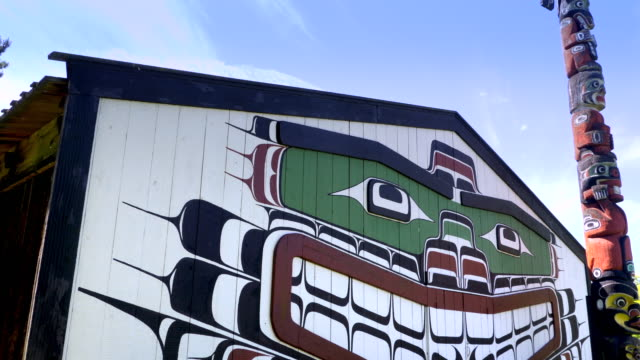 Native Haida Totem Pole Art and Longhouse North American First Nations Indian video