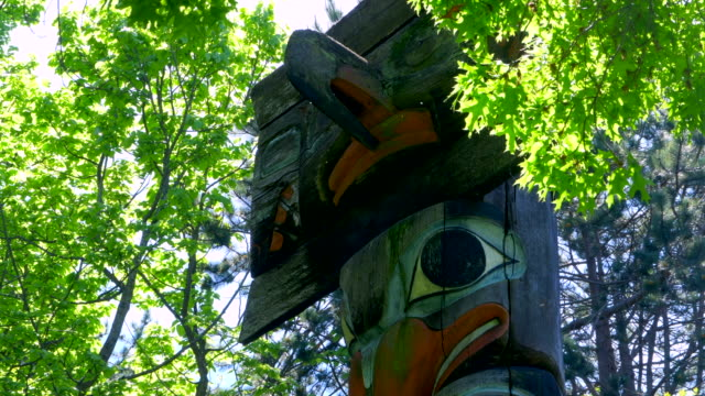 Native Totem Pole Close Up,  British Columbia First Nation Indian Pole Art