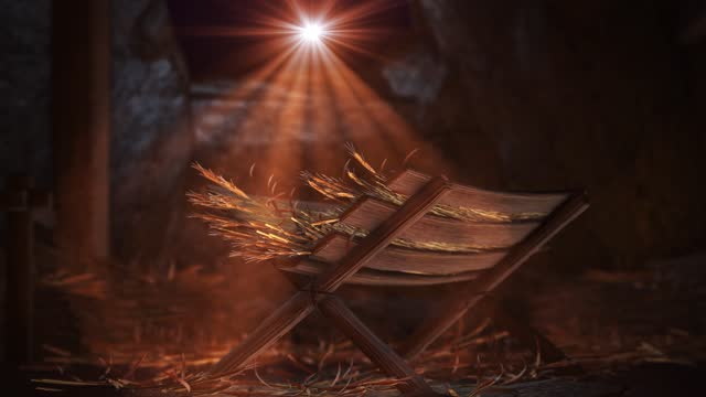 Nativity of Jesus Scene with twinkling stars of Bethlehem with sparkling advent Christmas story