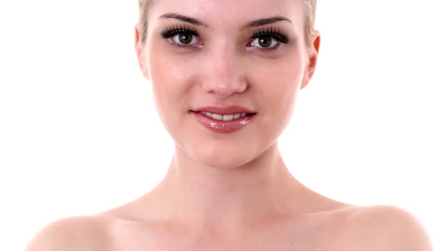 Natural female beauty face video