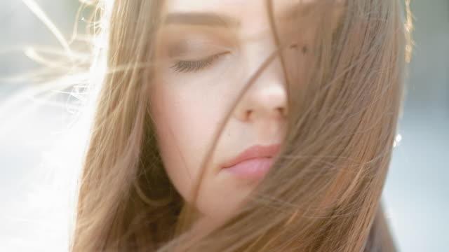 natural female beauty peaceful teen girl enjoying