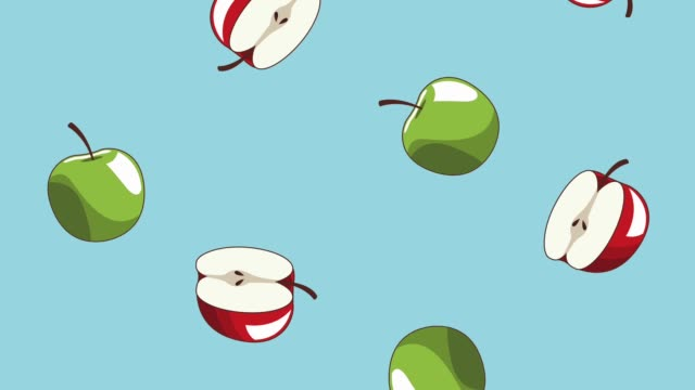 Natural food background HD animation Green and red apples falling over blue background high definition animation colorful scenes ingredient stock videos & royalty-free footage