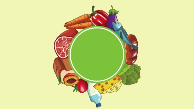 Natural food concept HD animation Natural food concept with vegetables fruits and meat around round frame high definition animation colorful scenes the four elements stock videos & royalty-free footage