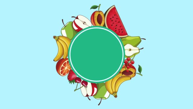 Bидео Natural fruits frame HD animation